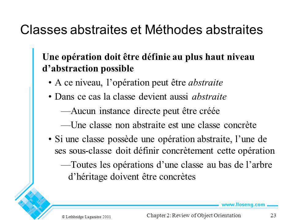 © Lethbridge/Laganière 2001 Chapter 2: Review of Object Orientation23 Classes abstraites et Méthodes abstraites Une opération doit être définie au plu