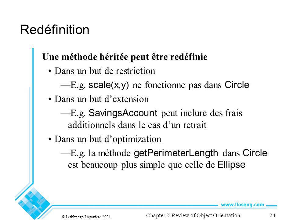 © Lethbridge/Laganière 2001 Chapter 2: Review of Object Orientation24 Redéfinition Une méthode héritée peut être redéfinie Dans un but de restriction