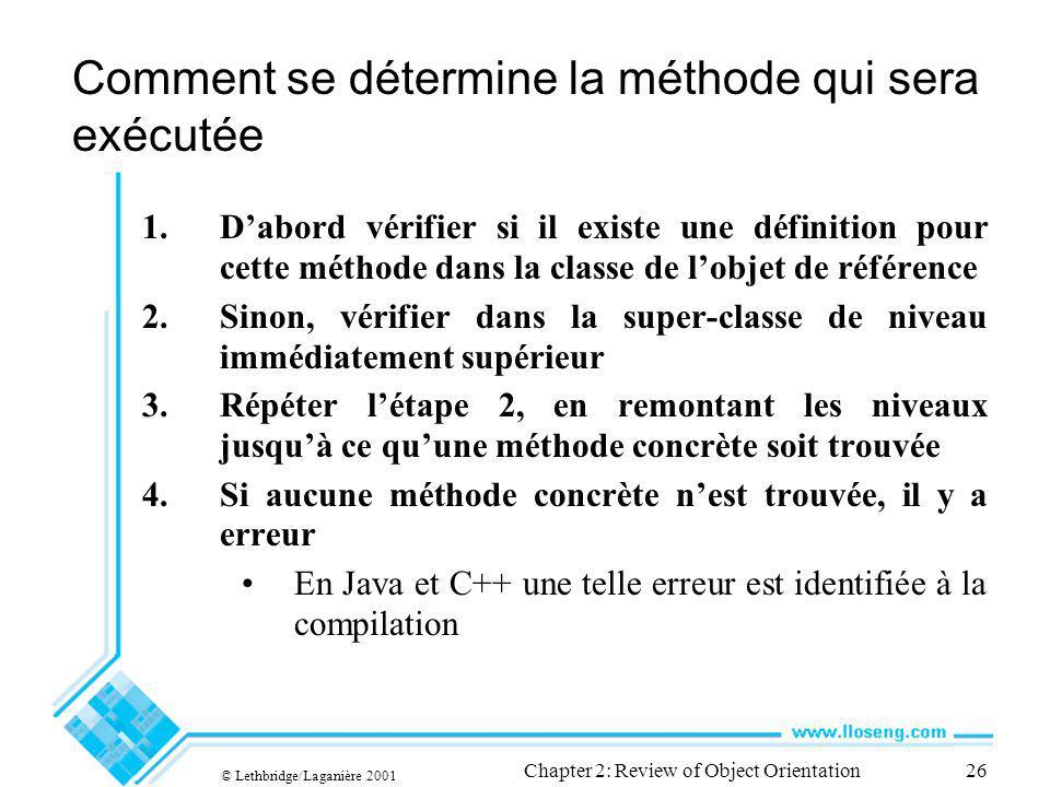 © Lethbridge/Laganière 2001 Chapter 2: Review of Object Orientation26 Comment se détermine la méthode qui sera exécutée 1.Dabord vérifier si il existe une définition pour cette méthode dans la classe de lobjet de référence 2.Sinon, vérifier dans la super-classe de niveau immédiatement supérieur 3.Répéter létape 2, en remontant les niveaux jusquà ce quune méthode concrète soit trouvée 4.Si aucune méthode concrète nest trouvée, il y a erreur En Java et C++ une telle erreur est identifiée à la compilation