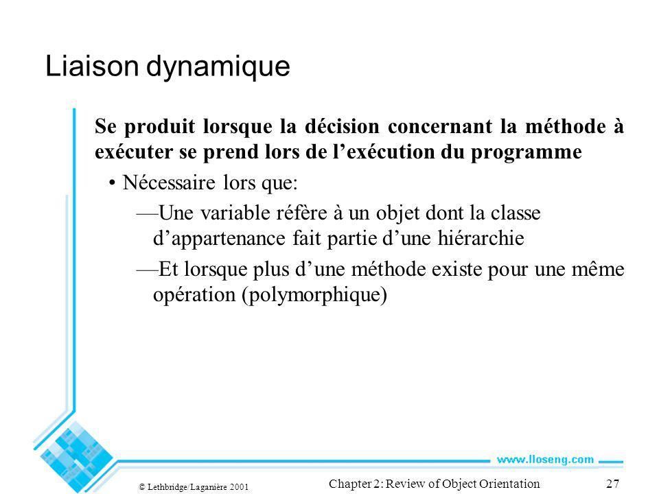 © Lethbridge/Laganière 2001 Chapter 2: Review of Object Orientation27 Liaison dynamique Se produit lorsque la décision concernant la méthode à exécute