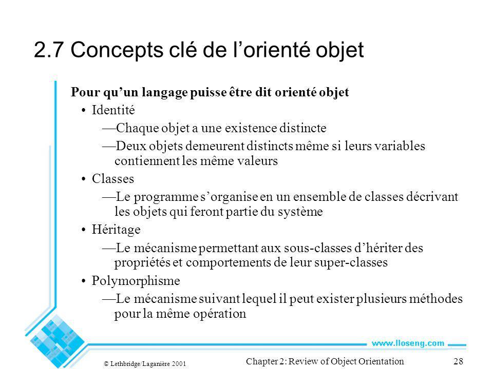 © Lethbridge/Laganière 2001 Chapter 2: Review of Object Orientation28 2.7 Concepts clé de lorienté objet Pour quun langage puisse être dit orienté obj