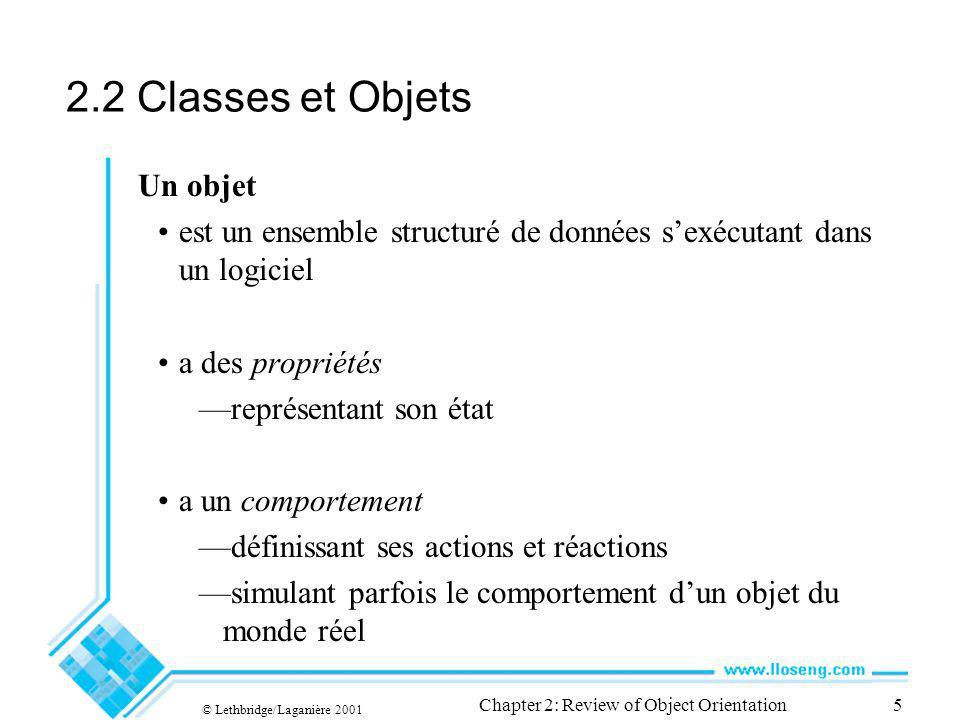 © Lethbridge/Laganière 2001 Chapter 2: Review of Object Orientation5 2.2 Classes et Objets Un objet est un ensemble structuré de données sexécutant da