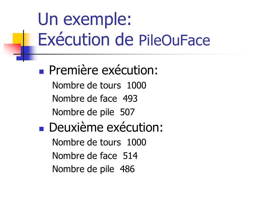 Un exemple: Exécution de PileOuFace Première exécution: Nombre de tours 1000 Nombre de face 493 Nombre de pile 507 Deuxième exécution: Nombre de tours