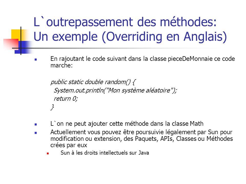 L`outrepassement des méthodes: Un exemple (Overriding en Anglais) En rajoutant le code suivant dans la classe pieceDeMonnaie ce code marche: public st