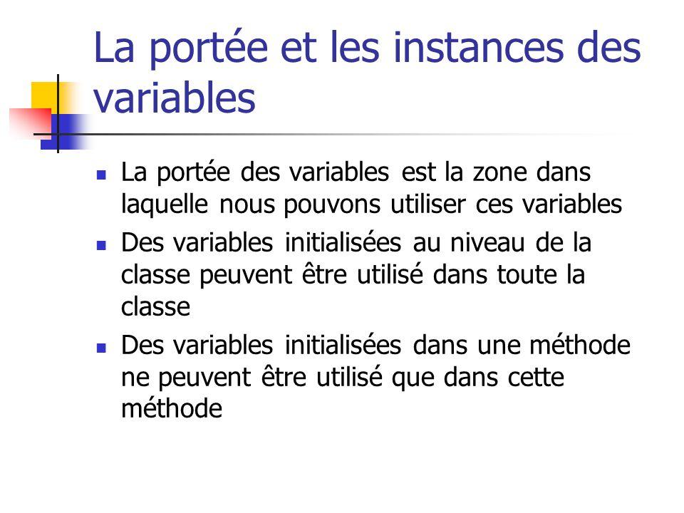 La portée et les instances des variables La portée des variables est la zone dans laquelle nous pouvons utiliser ces variables Des variables initialis