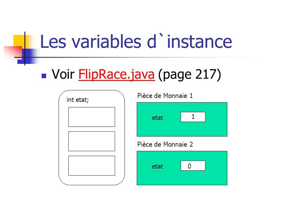 Les variables d`instance Voir FlipRace.java (page 217) int etat; etat 0 1 Pièce de Monnaie 1 Pièce de Monnaie 2