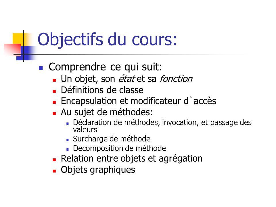 Objectifs du cours: Comprendre ce qui suit: Un objet, son état et sa fonction Définitions de classe Encapsulation et modificateur d`accès Au sujet de