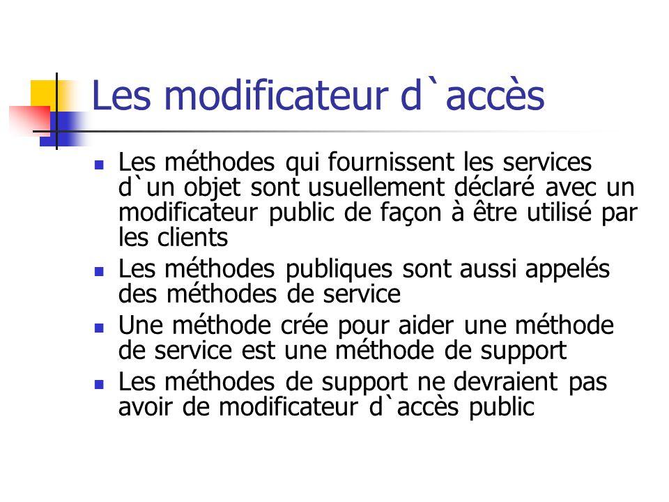 Les modificateur d`accès Les méthodes qui fournissent les services d`un objet sont usuellement déclaré avec un modificateur public de façon à être uti