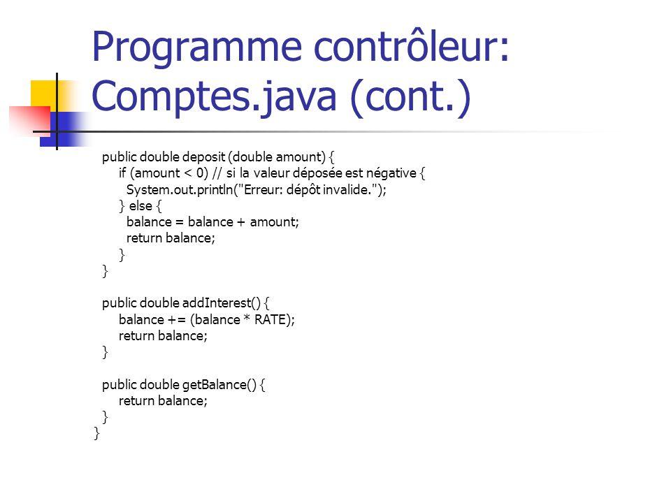 Programme contrôleur: Comptes.java (cont.) public double deposit (double amount) { if (amount < 0) // si la valeur déposée est négative { System.out.p