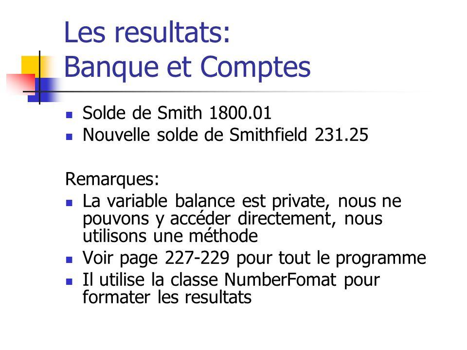 Les resultats: Banque et Comptes Solde de Smith 1800.01 Nouvelle solde de Smithfield 231.25 Remarques: La variable balance est private, nous ne pouvon