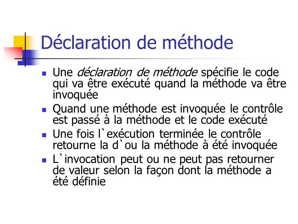 Déclaration de méthode Une déclaration de méthode spécifie le code qui va être exécuté quand la méthode va être invoquée Quand une méthode est invoqué