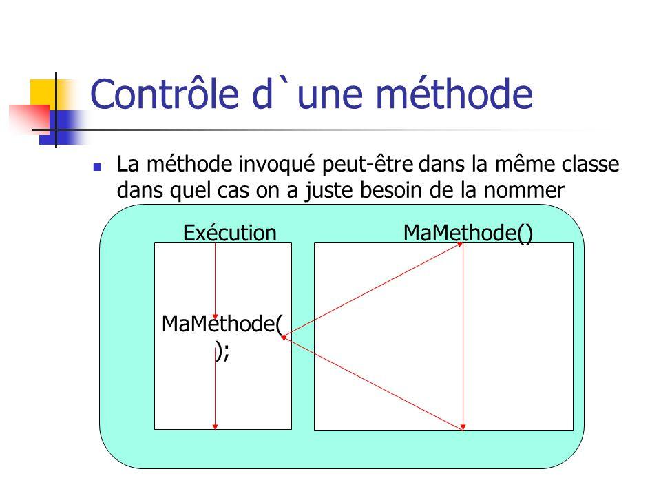 Contrôle d`une méthode La méthode invoqué peut-être dans la même classe dans quel cas on a juste besoin de la nommer MaMethode( ); ExécutionMaMethode(