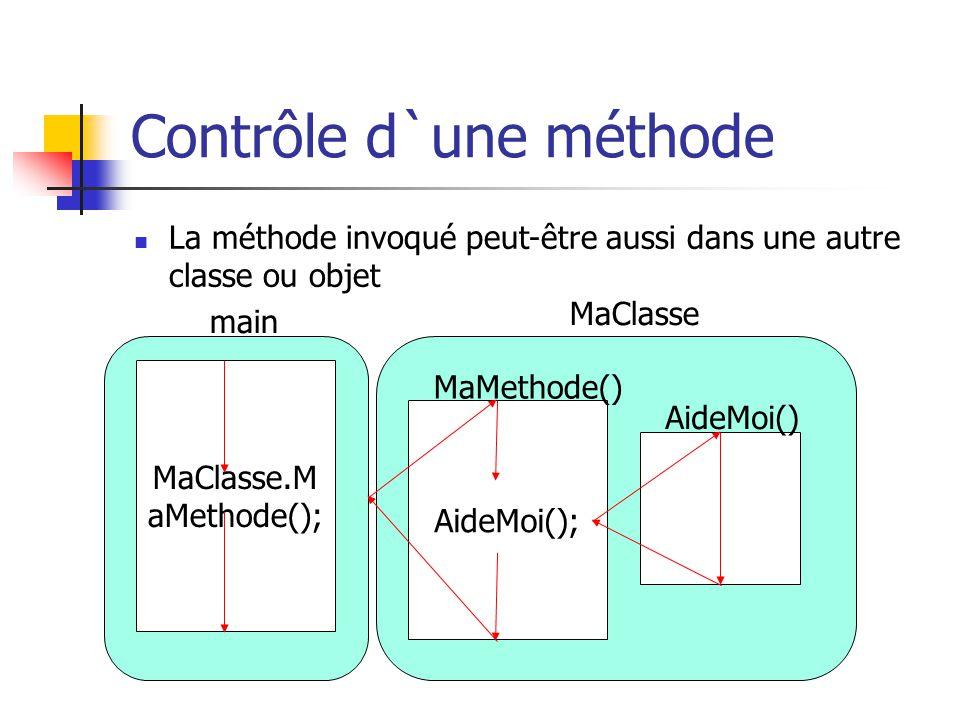 Contrôle d`une méthode La méthode invoqué peut-être aussi dans une autre classe ou objet MaClasse.M aMethode(); main AideMoi(); AideMoi() MaClasse MaM