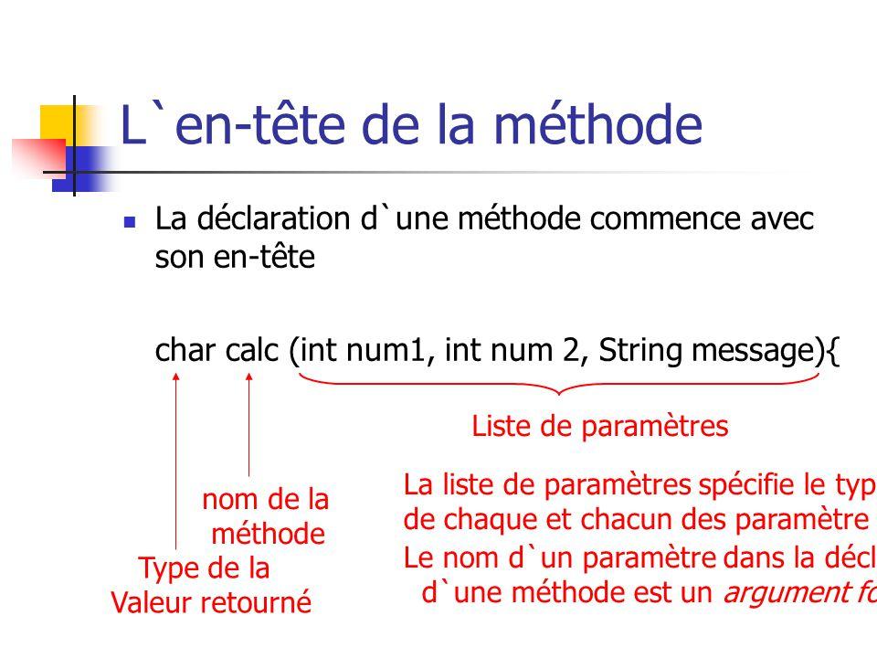 L`en-tête de la méthode La déclaration d`une méthode commence avec son en-tête char calc (int num1, int num 2, String message){ Type de la Valeur reto