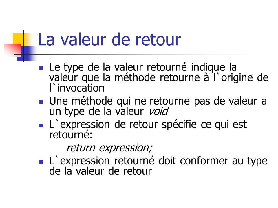 La valeur de retour Le type de la valeur retourné indique la valeur que la méthode retourne à l`origine de l`invocation Une méthode qui ne retourne pa