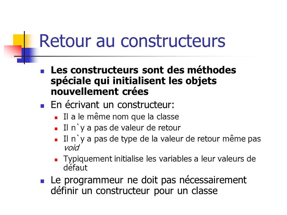 Retour au constructeurs Les constructeurs sont des méthodes spéciale qui initialisent les objets nouvellement crées En écrivant un constructeur: Il a