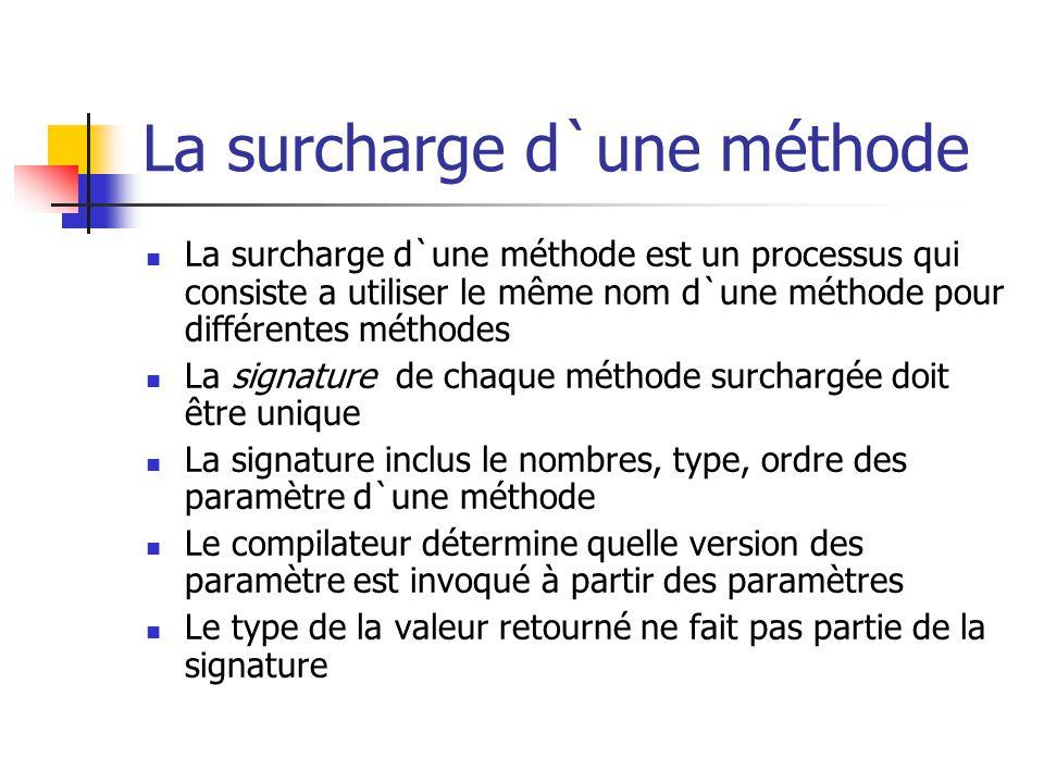 La surcharge d`une méthode La surcharge d`une méthode est un processus qui consiste a utiliser le même nom d`une méthode pour différentes méthodes La