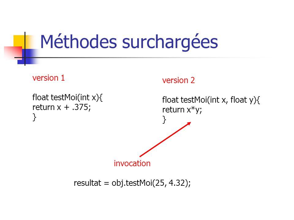 Méthodes surchargées version 1 float testMoi(int x){ return x +.375; } version 2 float testMoi(int x, float y){ return x*y; } invocation resultat = ob