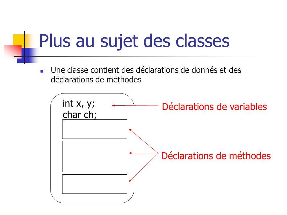Plus au sujet des classes Une classe contient des déclarations de donnés et des déclarations de méthodes int x, y; char ch; Déclarations de variables