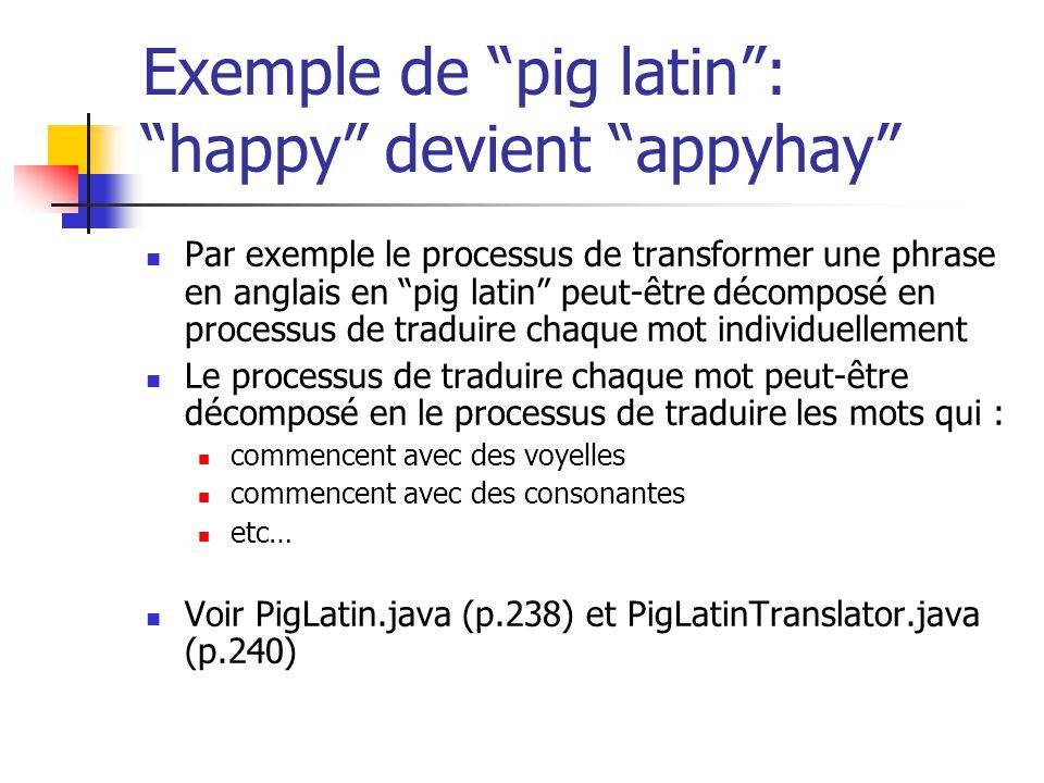 Exemple de pig latin: happy devient appyhay Par exemple le processus de transformer une phrase en anglais en pig latin peut-être décomposé en processu