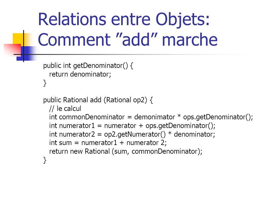 Relations entre Objets: Comment add marche public int getDenominator() { return denominator; } public Rational add (Rational op2) { // le calcul int c
