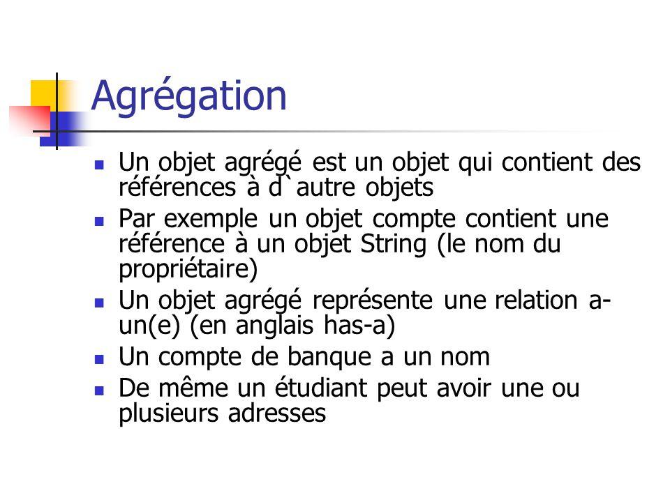 Agrégation Un objet agrégé est un objet qui contient des références à d`autre objets Par exemple un objet compte contient une référence à un objet Str