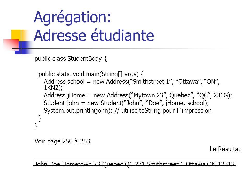 Agrégation: Adresse étudiante public class StudentBody { public static void main(String[] args) { Address school = new Address(Smithstreet 1, Ottawa,