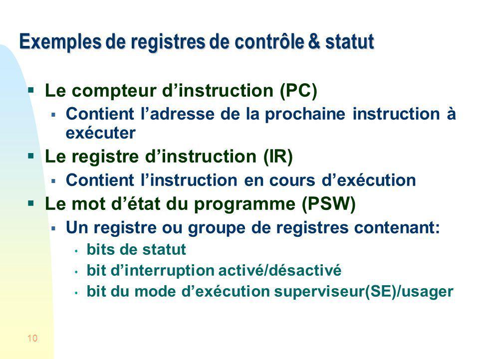 10 Exemples de registres de contrôle & statut Le compteur dinstruction (PC) Contient ladresse de la prochaine instruction à exécuter Le registre dinst