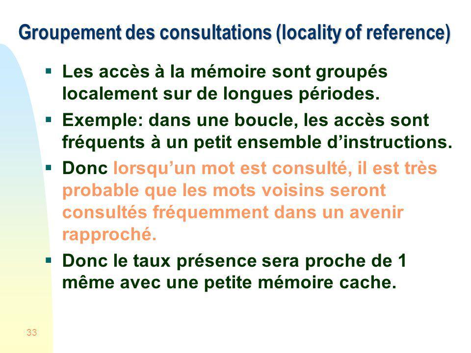 33 Groupement des consultations (locality of reference) Les accès à la mémoire sont groupés localement sur de longues périodes. Exemple: dans une bouc