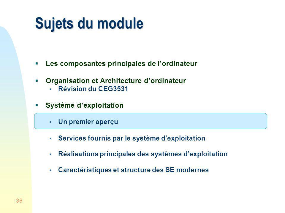 36 Sujets du module Les composantes principales de lordinateur Organisation et Architecture dordinateur Révision du CEG3531 Système dexploitation Un p