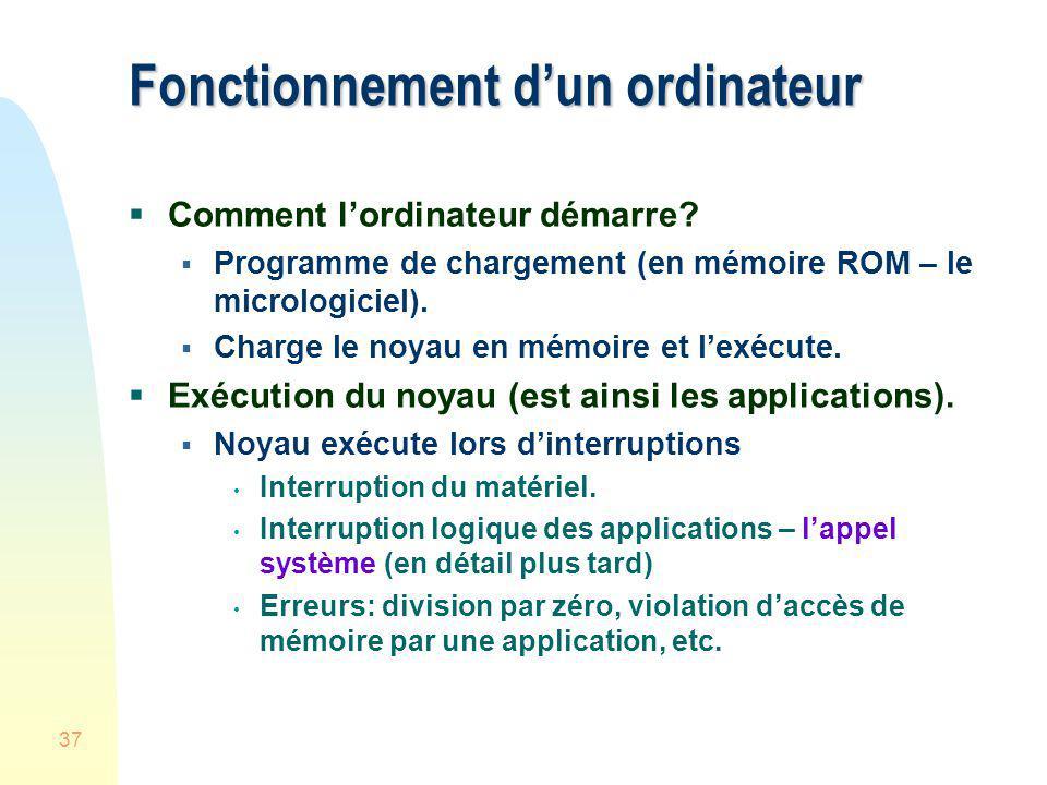 37 Fonctionnement dun ordinateur Comment lordinateur démarre? Programme de chargement (en mémoire ROM – le micrologiciel). Charge le noyau en mémoire