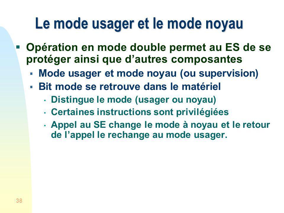38 Le mode usager et le mode noyau Opération en mode double permet au ES de se protéger ainsi que dautres composantes Mode usager et mode noyau (ou su