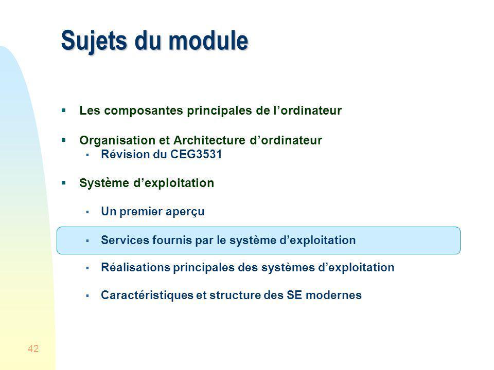 42 Sujets du module Les composantes principales de lordinateur Organisation et Architecture dordinateur Révision du CEG3531 Système dexploitation Un p