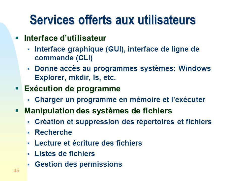 45 Services offerts aux utilisateurs Interface dutilisateur Interface graphique (GUI), interface de ligne de commande (CLI) Donne accès au programmes