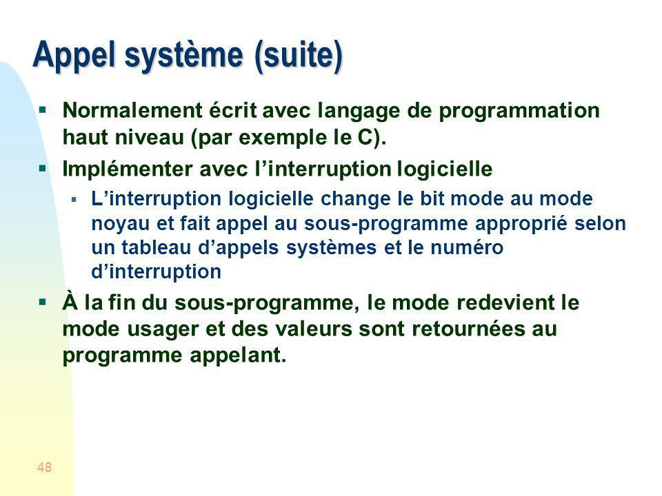 48 Appel système (suite) Normalement écrit avec langage de programmation haut niveau (par exemple le C). Implémenter avec linterruption logicielle Lin