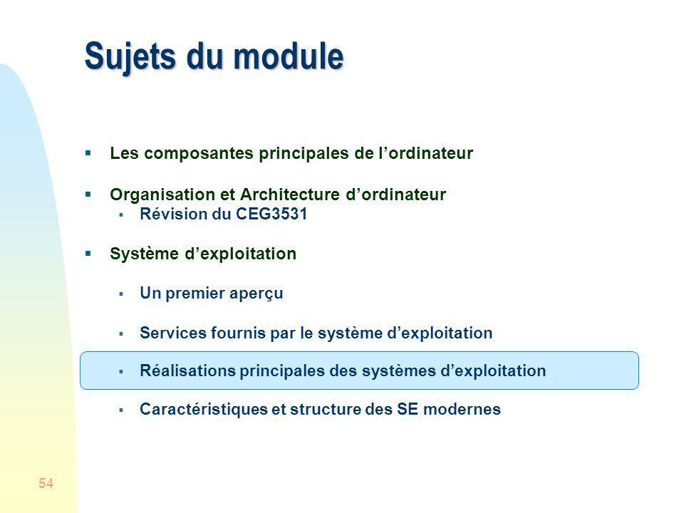 54 Sujets du module Les composantes principales de lordinateur Organisation et Architecture dordinateur Révision du CEG3531 Système dexploitation Un p