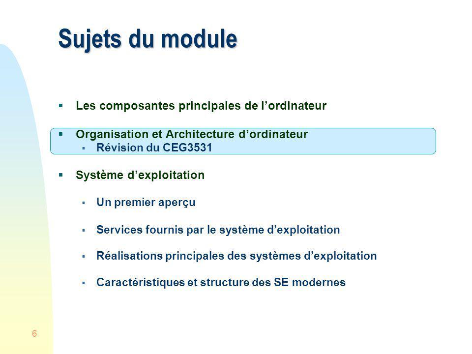 6 Sujets du module Les composantes principales de lordinateur Organisation et Architecture dordinateur Révision du CEG3531 Système dexploitation Un pr