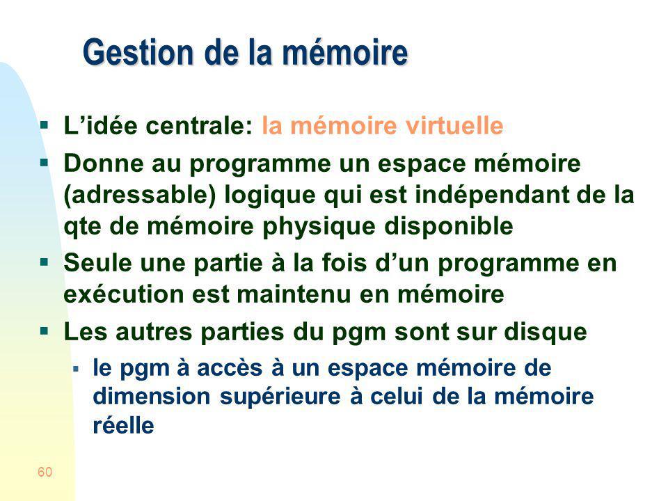 60 Gestion de la mémoire Lidée centrale: la mémoire virtuelle Donne au programme un espace mémoire (adressable) logique qui est indépendant de la qte