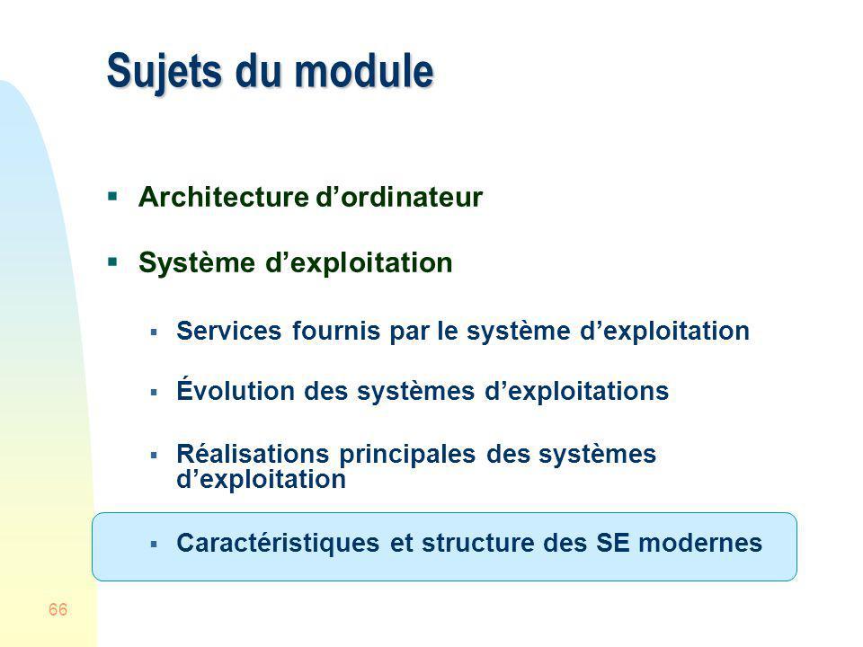 66 Sujets du module Architecture dordinateur Système dexploitation Services fournis par le système dexploitation Évolution des systèmes dexploitations