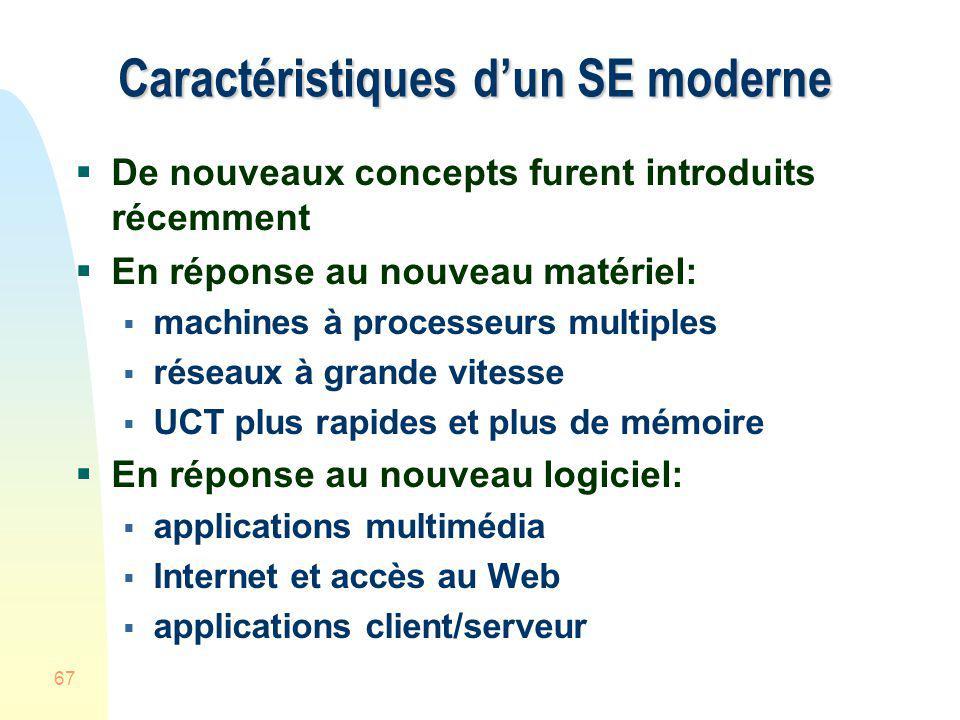 67 Caractéristiques dun SE moderne De nouveaux concepts furent introduits récemment En réponse au nouveau matériel: machines à processeurs multiples r