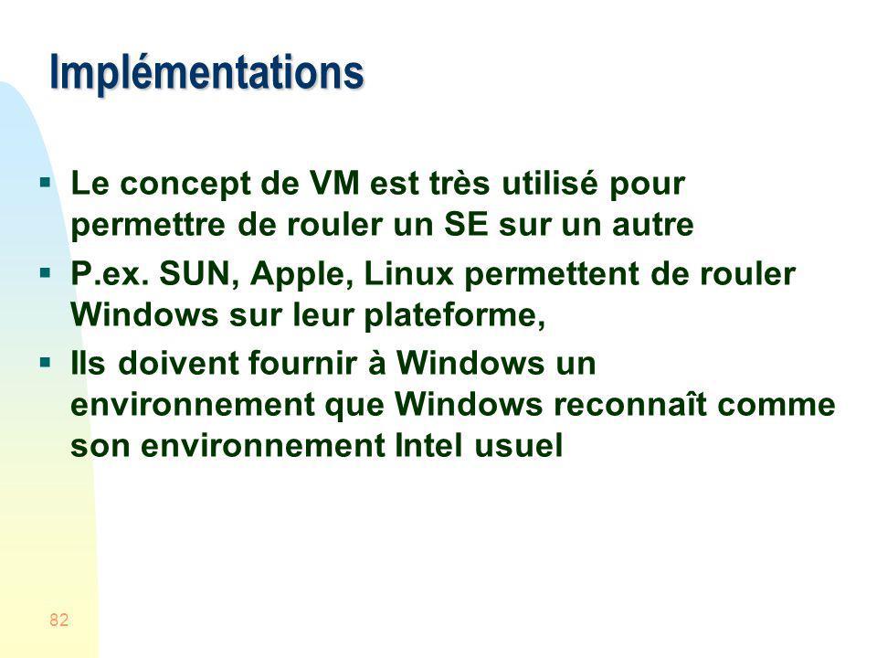 82 Implémentations Le concept de VM est très utilisé pour permettre de rouler un SE sur un autre P.ex. SUN, Apple, Linux permettent de rouler Windows
