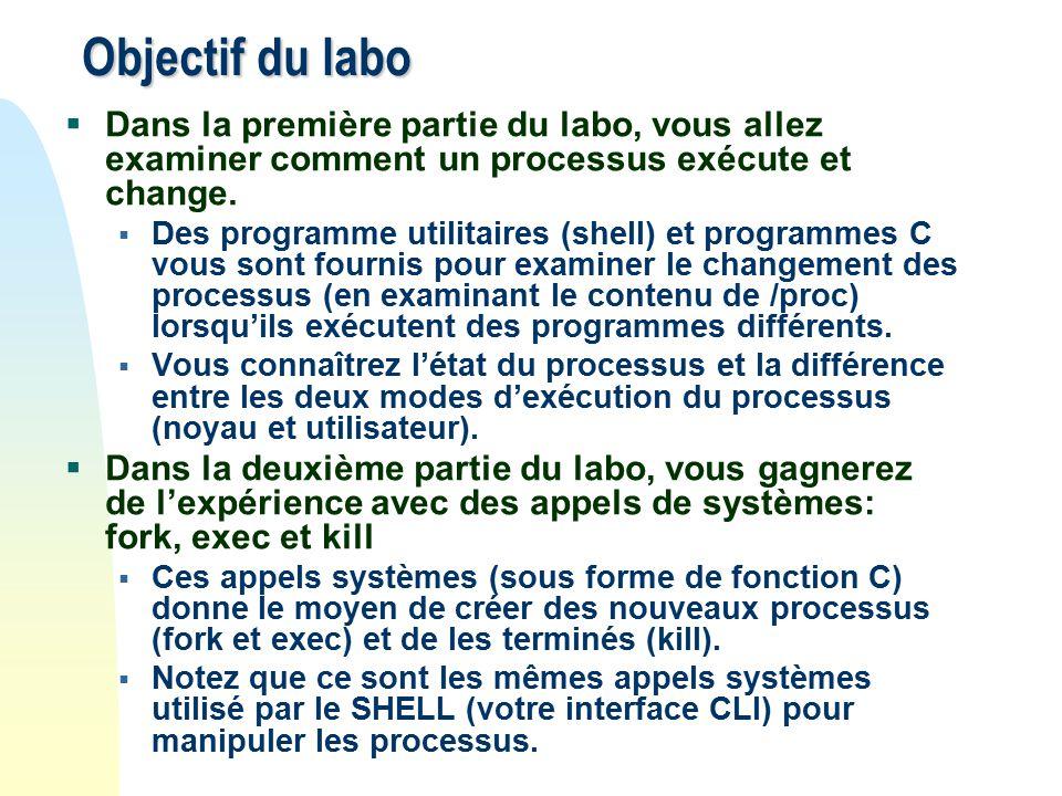 Objectif du labo Dans la première partie du labo, vous allez examiner comment un processus exécute et change.