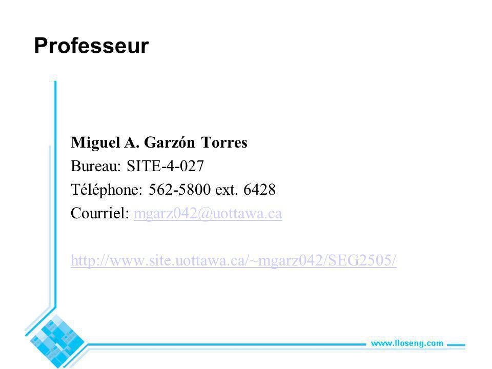 Professeur Miguel A. Garzón Torres Bureau: SITE-4-027 Téléphone: 562-5800 ext.