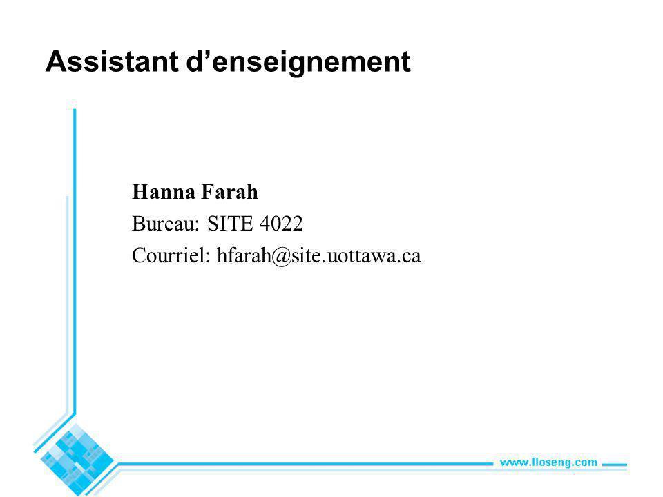 Assistant denseignement Hanna Farah Bureau: SITE 4022 Courriel: hfarah@site.uottawa.ca