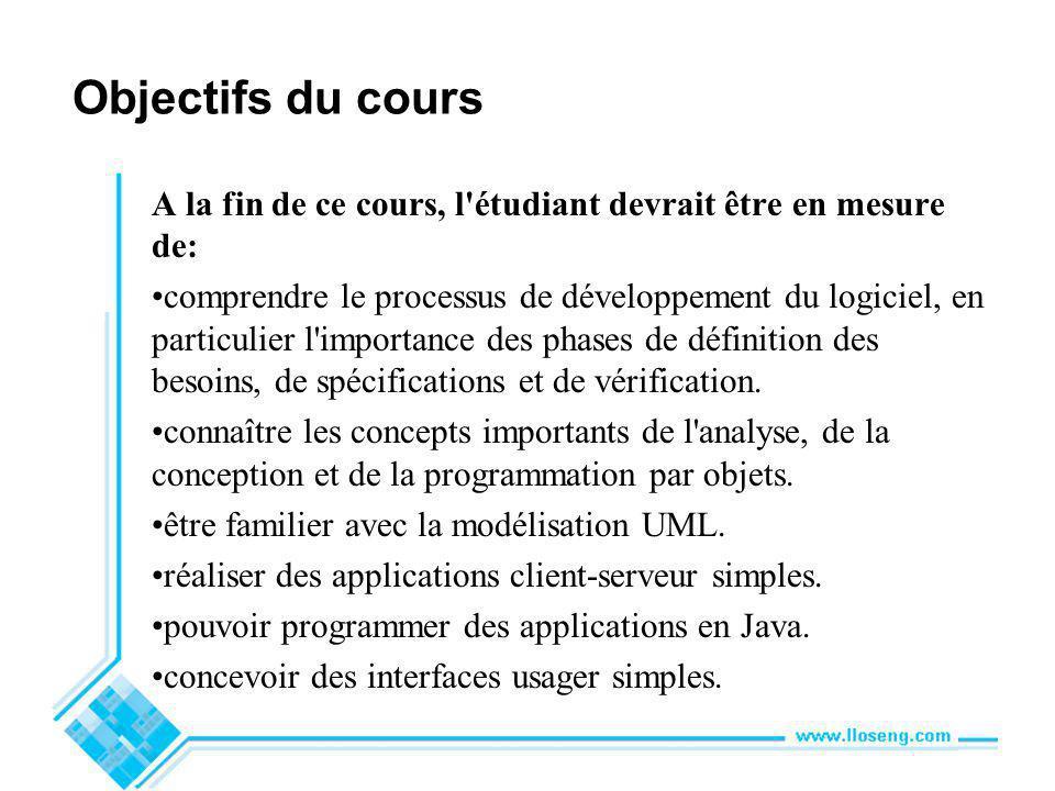 Objectifs du cours A la fin de ce cours, l étudiant devrait être en mesure de: comprendre le processus de développement du logiciel, en particulier l importance des phases de définition des besoins, de spécifications et de vérification.