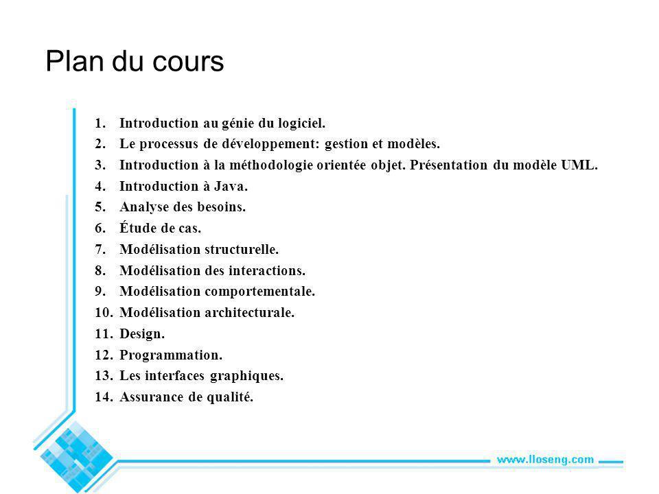Plan du cours 1.Introduction au génie du logiciel.