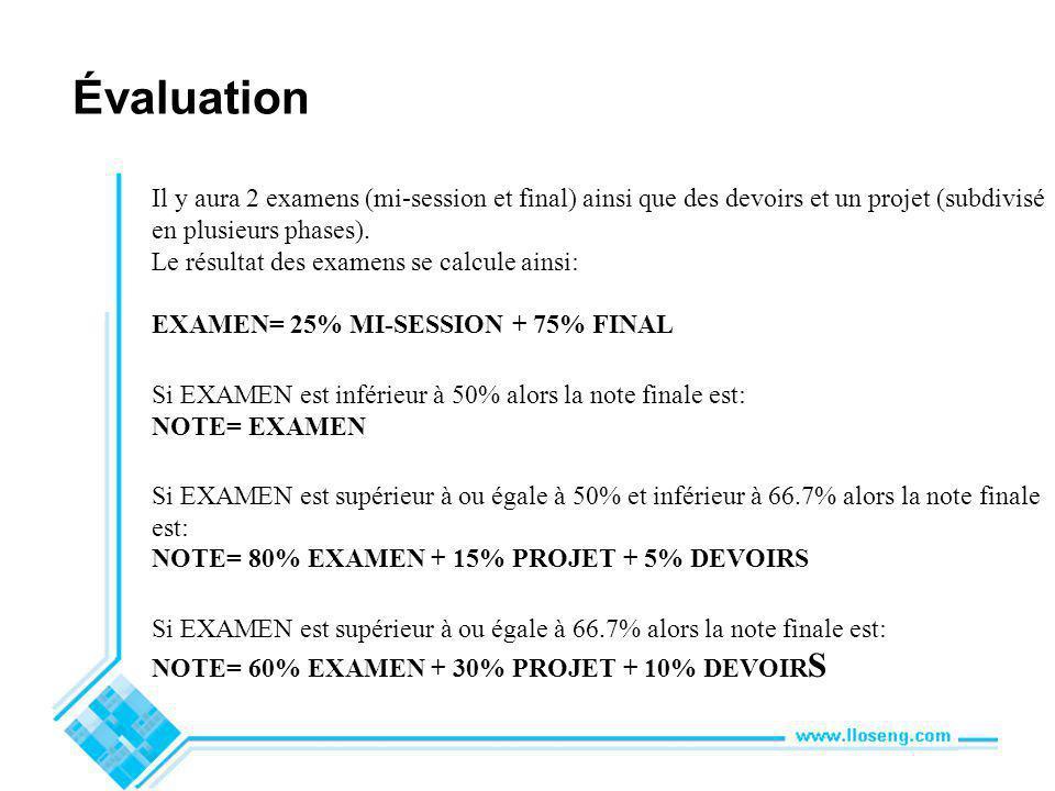 Évaluation Il y aura 2 examens (mi-session et final) ainsi que des devoirs et un projet (subdivisé en plusieurs phases).
