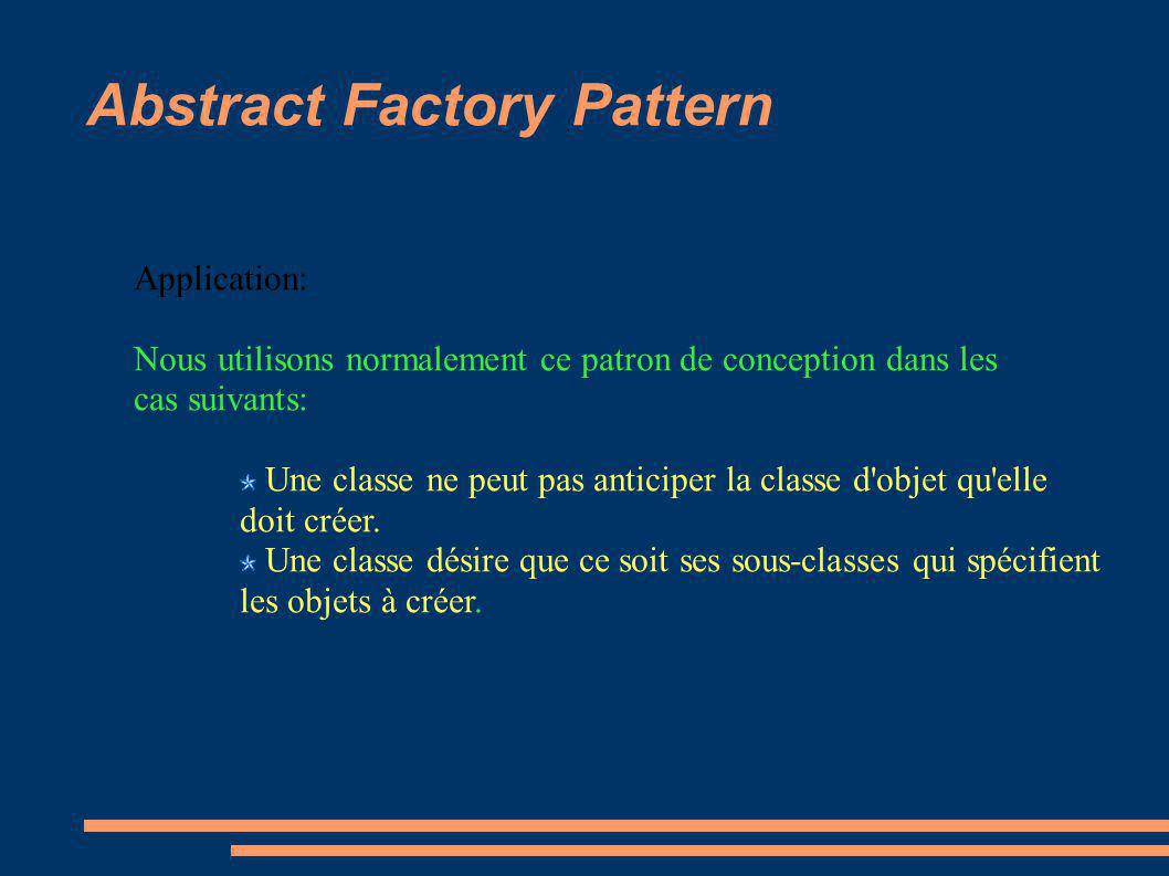 Abstract Factory Pattern Application: Nous utilisons normalement ce patron de conception dans les cas suivants: Une classe ne peut pas anticiper la classe d objet qu elle doit créer.