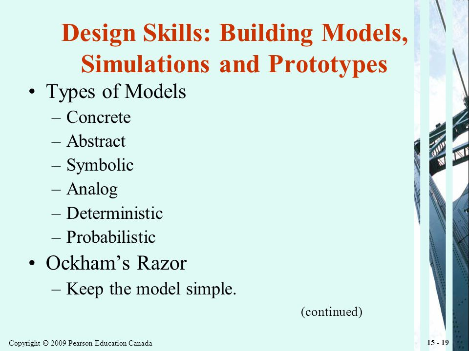 Copyright 2009 Pearson Education Canada 15 - 19 Design Skills: Building Models, Simulations and Prototypes Types of Models –Concrete –Abstract –Symbolic –Analog –Deterministic –Probabilistic Ockhams Razor –Keep the model simple.