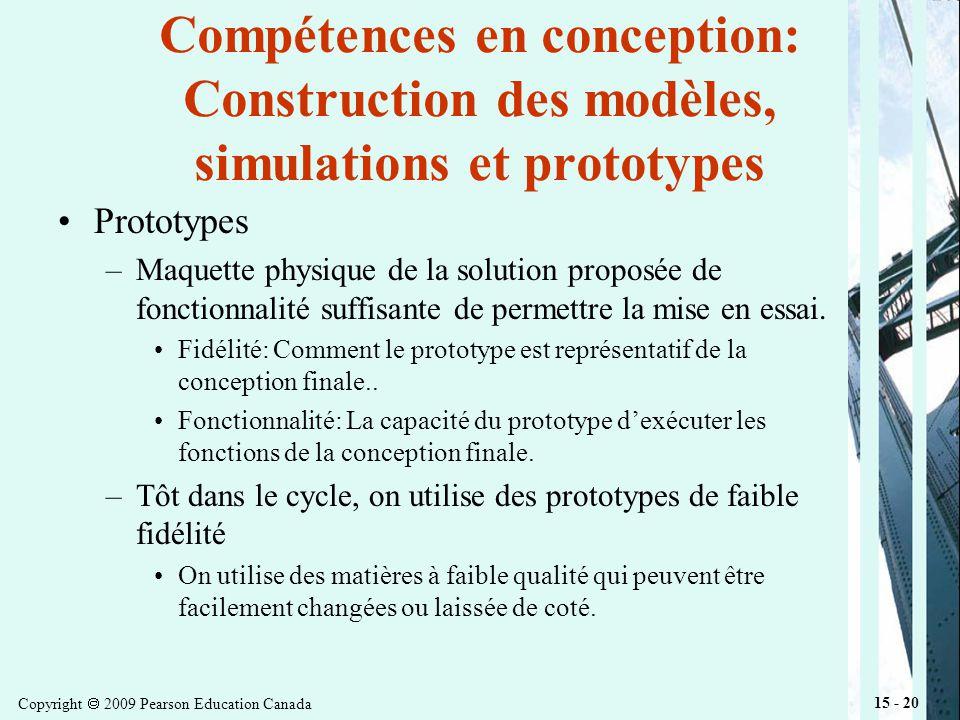 Copyright 2009 Pearson Education Canada 15 - 20 Compétences en conception: Construction des modèles, simulations et prototypes Prototypes –Maquette physique de la solution proposée de fonctionnalité suffisante de permettre la mise en essai.